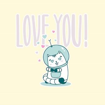 T'aime lettrage avec chat astronaute drôle