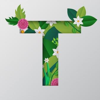 T alphabet fait par des fleurs et des feuilles avec un style de papier découpé.