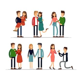 T couples amoureux. homme et femme s'embrassant affectueusement.