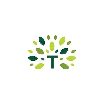 T lettre arbre feuille nature marque logo vert icône vector illustration