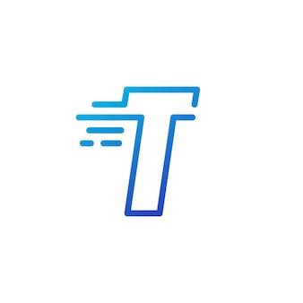 T lettre dash rapide rapide marque numérique contour logo vector icône illustration