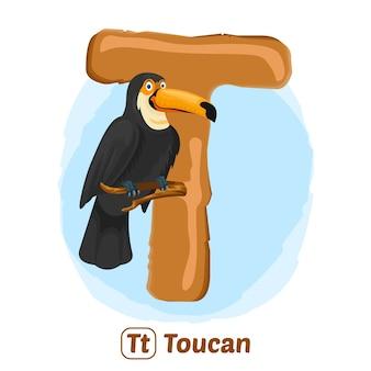 T pour toucan. style de dessin d'illustration premium d'animal alphabet pour l'éducation
