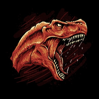 T rex head illustration