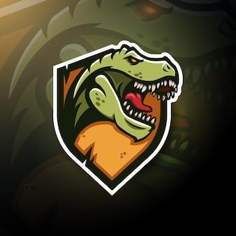 T-rex tête logo de jeu esport