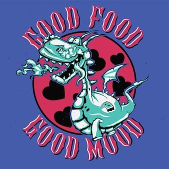 T-shirt ou affiche avec illustration de dragon