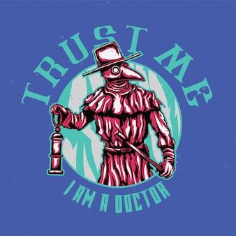 T-shirt ou affiche avec illustration du médecin de la peste
