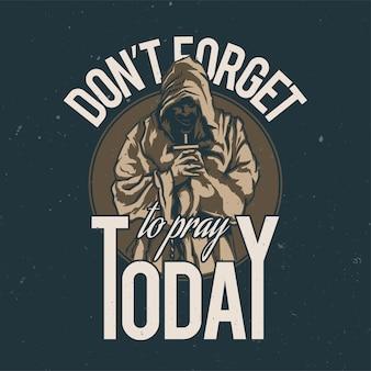 T-shirt ou affiche avec illustration de moine en prière