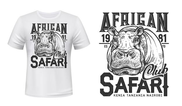 T-shirt africain safari club imprimé avec hippopotame.
