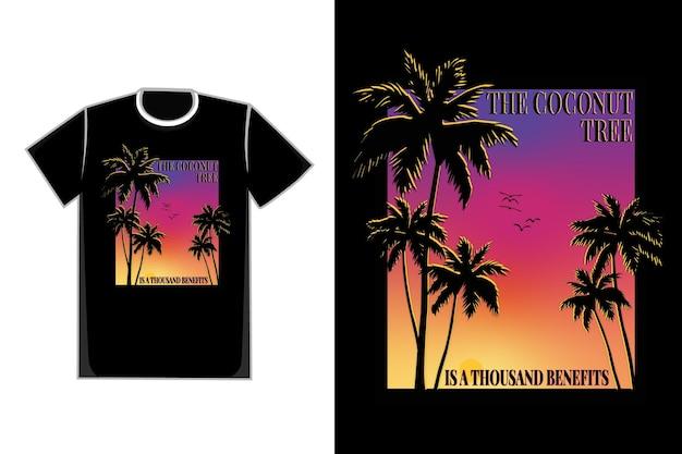 T-shirt arbre palm beach coucher de soleil beau ciel