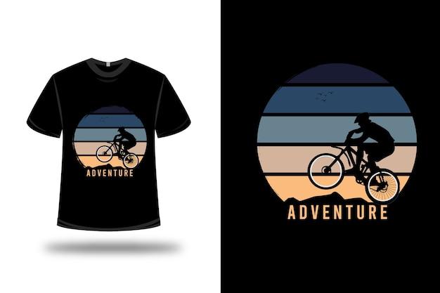 T-shirt aventure couleur bleu et jaune