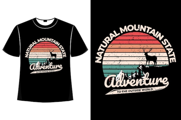T-shirt aventure état monde rétro vintage