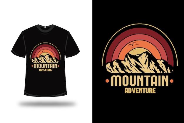 T-shirt aventure montagne couleur rouge orange et jaune