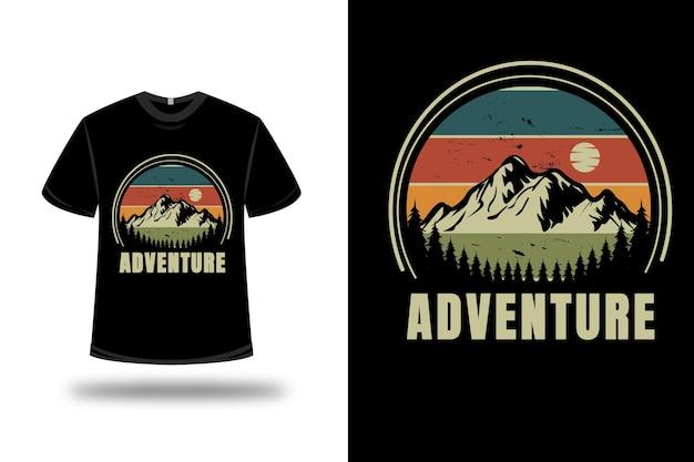 T-shirt aventure montagne couleur vert et orange