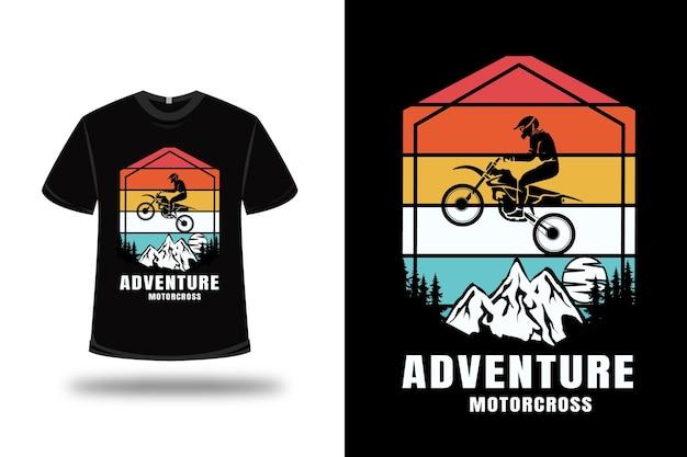 T-shirt aventure motocross couleur rouge blanc et vert