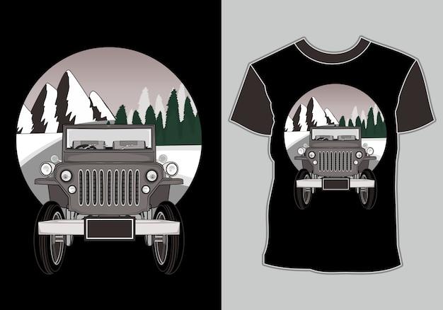 T-shirt aventure en voiture avec montagne