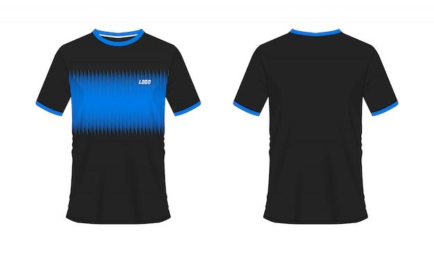 T-shirt bleu et noir modèle de football ou de football pour le club d'équipe. sport jersey,