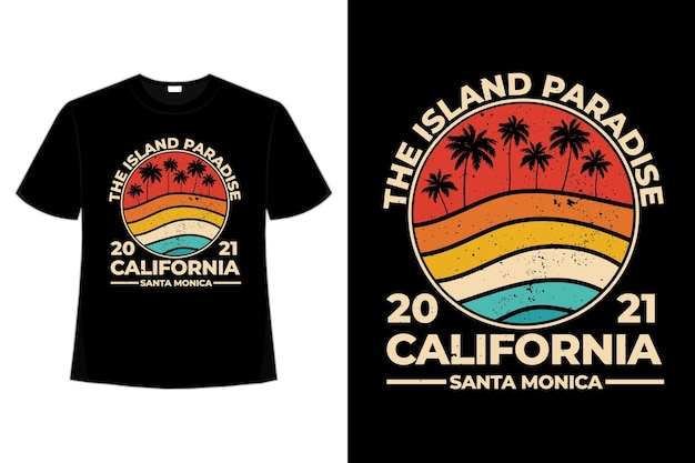T-shirt california beach island paradise style rétro