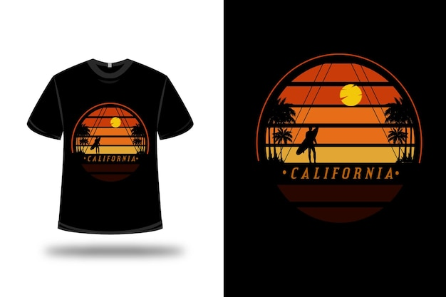 T-shirt california sur orange et noir