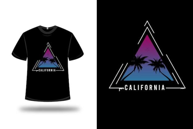 T-shirt california sur rose et bleu