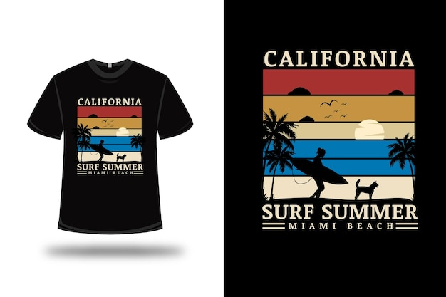 T-shirt california surf summer miami beach couleur rouge crème et bleu
