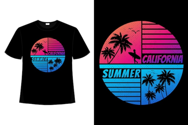 T-shirt californie heure d'été coucher de soleil couleur dégradé style rétro vintage
