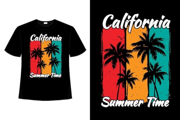 T-shirt californie heure d'été couleur coucher de soleil style rétro vintage