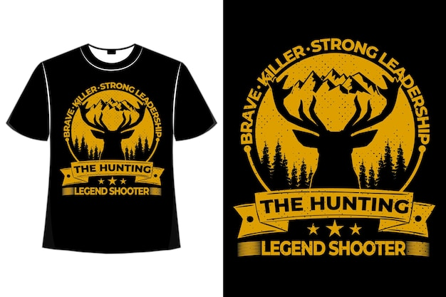 T-shirt cerf brave tueur chasse shooter pin vintage