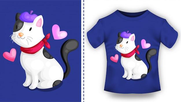 T-shirt avec chat mignon portant un foulard et un personnage de béret