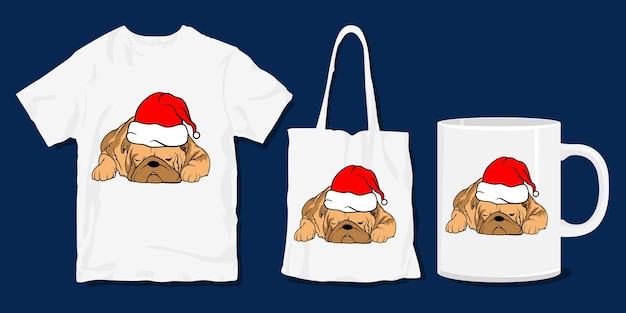 T-shirt de chien paresseux. marchandises et t-shirt de dessin animé drôle de noël
