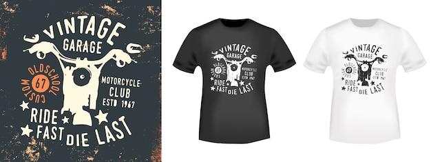T-shirt club de moto vintage imprimé
