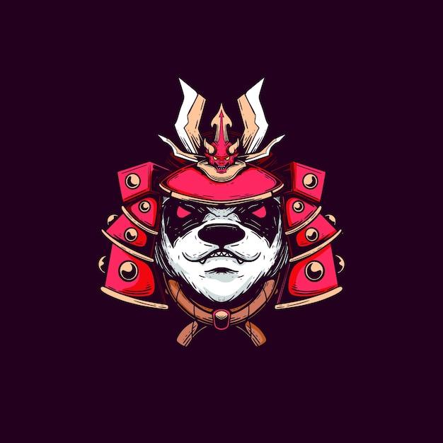T-shirt de conception de samouraï d'illustration de panda