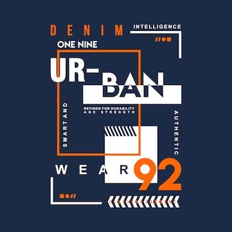 T-shirt de conception de typographie graphique urbain denim