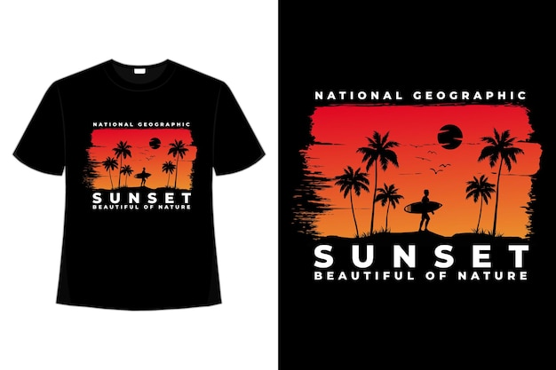 T-shirt coucher de soleil plage belle nature nation