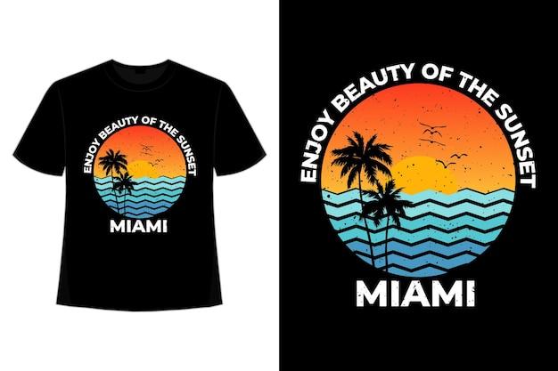 T-shirt coucher de soleil rétro miami beach