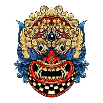 T shirt design barong rangda bali illustration de style de gravure