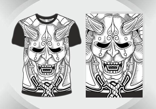 T shirt design crâne démon dessin à la main