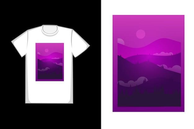 T-shirt design dégradé violet montagnes colorées