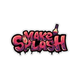 T-shirt design faire éclabousser avec du verre et une bouteille de vin graffiti