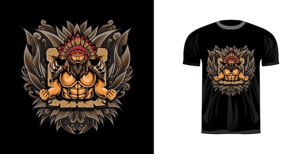 T-shirt design illustration guerrier