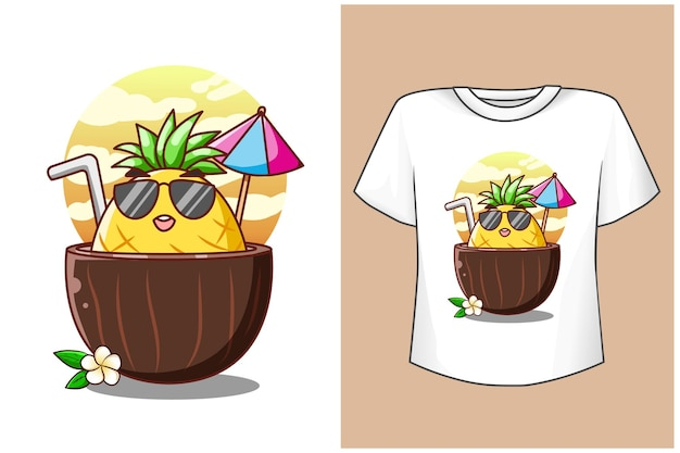 T shirt design maquette ananas en été