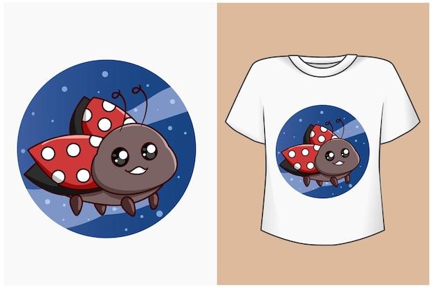 T shirt design maquette illustration de dessin animé coccinelle