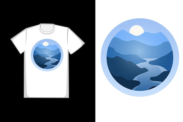 T-shirt design montagnes en dégradé bleu
