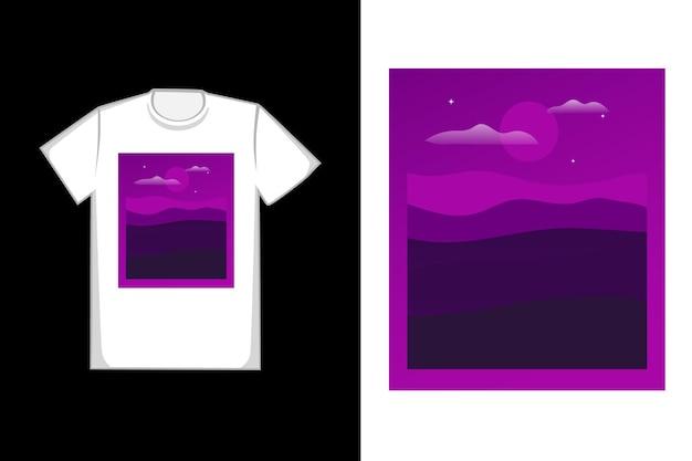 T-shirt design nuit dans les montagnes couleur violet et noir
