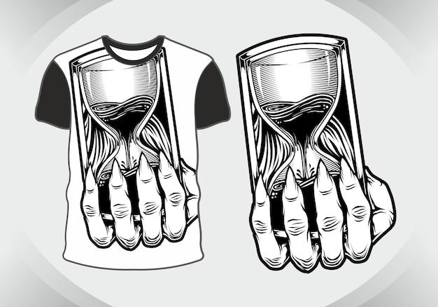 T-shirt design sablier crâne