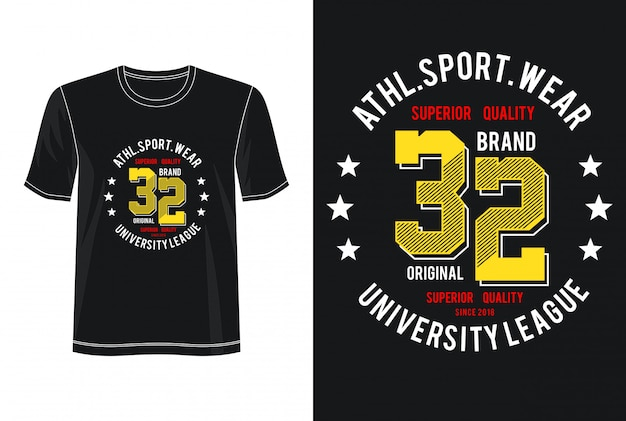 T-shirt design sport wear 32 typographie