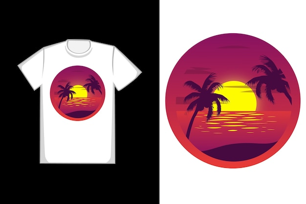 T-shirt design sunset beach