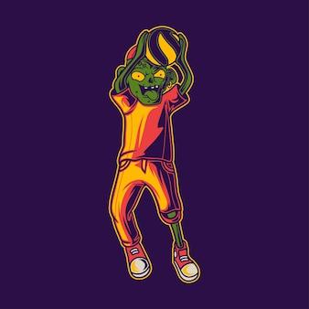 T-shirt design zombie dans une illustration de volley-ball en position de passage supérieure