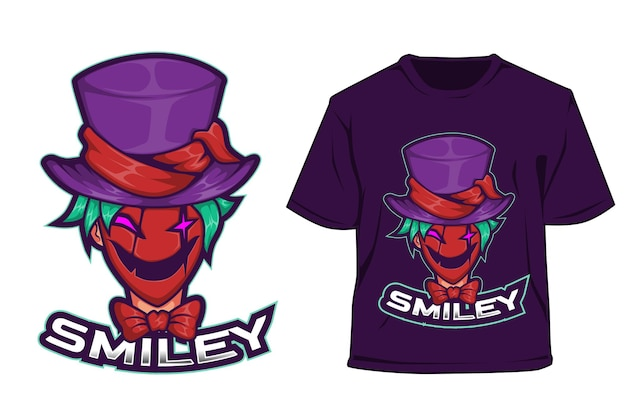 T shirt e sport logo design smiley clown