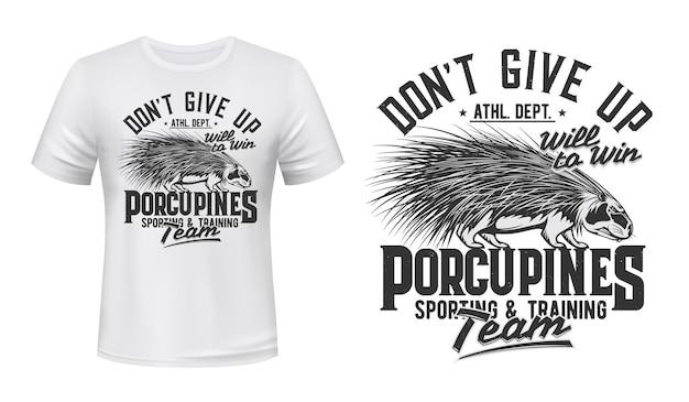 T-shirt de l'équipe du club de sport porcupine imprimer