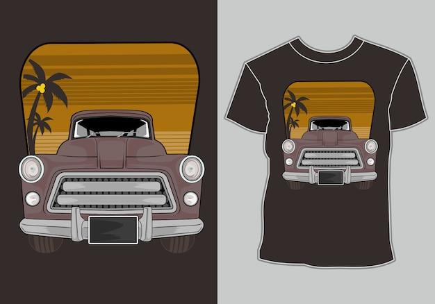 T-shirt d'été classique, vintage, voiture rétro sur la plage